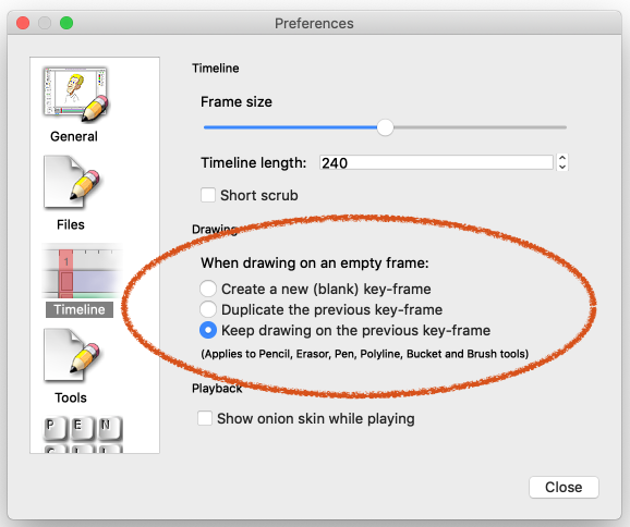 preferences window > timeline section